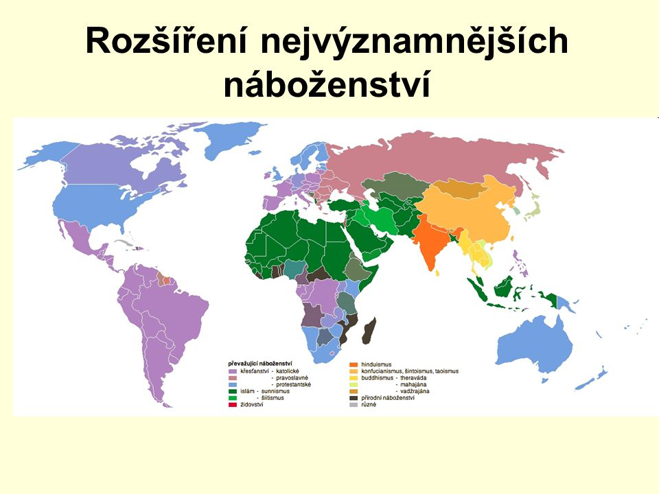 Rozšíření nejvýznamnějších náboženství
