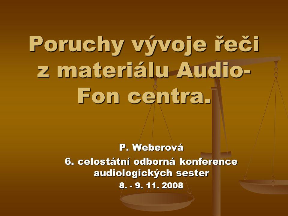 Poruchy vývoje řeči z materiálu Audio- Fon centra.