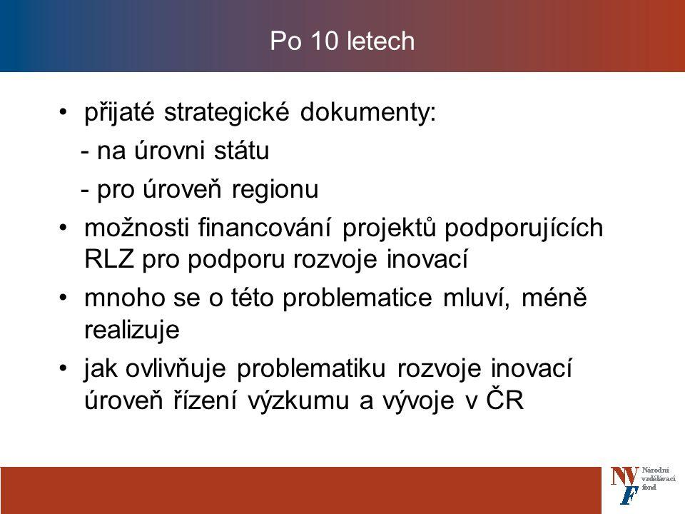 Po 10 letech přijaté strategické dokumenty: - na úrovni státu - pro úroveň regionu možnosti financování projektů podporujících RLZ pro podporu rozvoje inovací mnoho se o této problematice mluví, méně realizuje jak ovlivňuje problematiku rozvoje inovací úroveň řízení výzkumu a vývoje v ČR