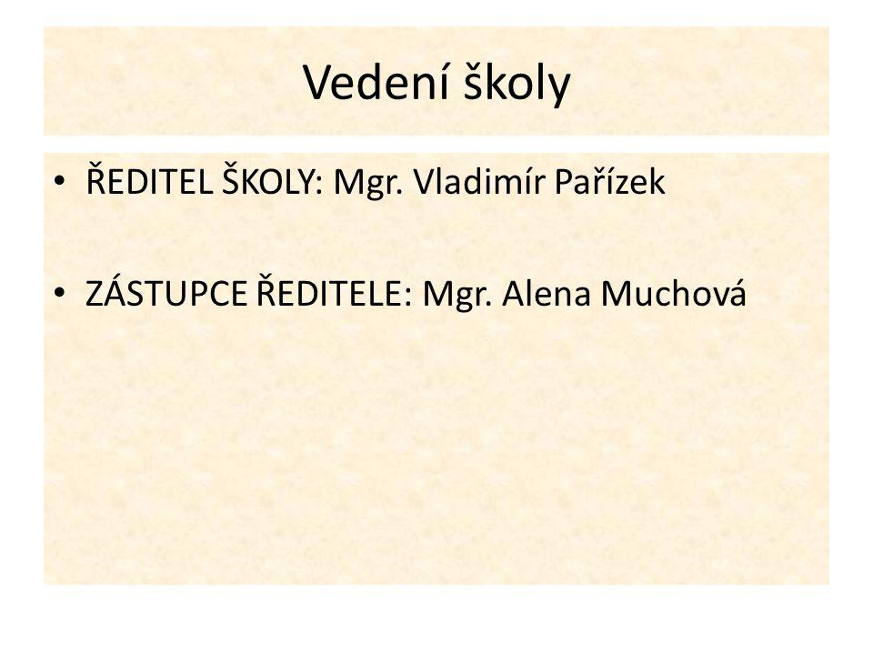 Vedení školy ŘEDITEL ŠKOLY: Mgr. Vladimír Pařízek ZÁSTUPCE ŘEDITELE: Mgr. Alena Muchová