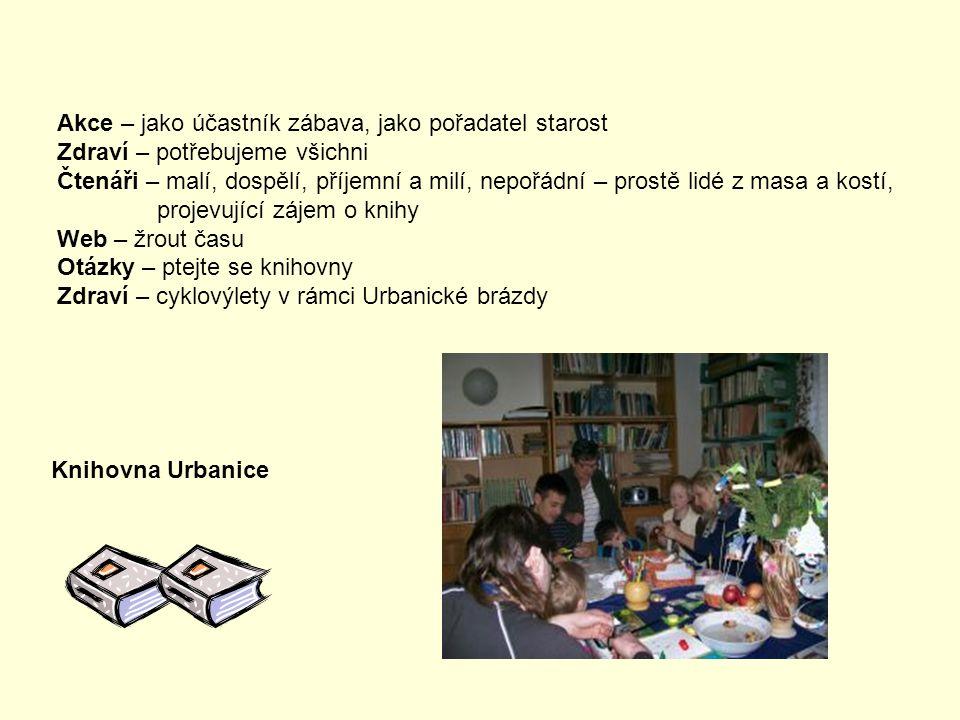 Knihovnice – amatérská, ale nadšená Návštěvníci – amarouny - v knihovně jsou vítáni Školní četba – všichni vědí, kde je knihovna Zdraví – nejdůležitější, za peníze si ho nekoupíš Počítač – kdo si s ním rozumí je vysmátý Knihovna Libčany