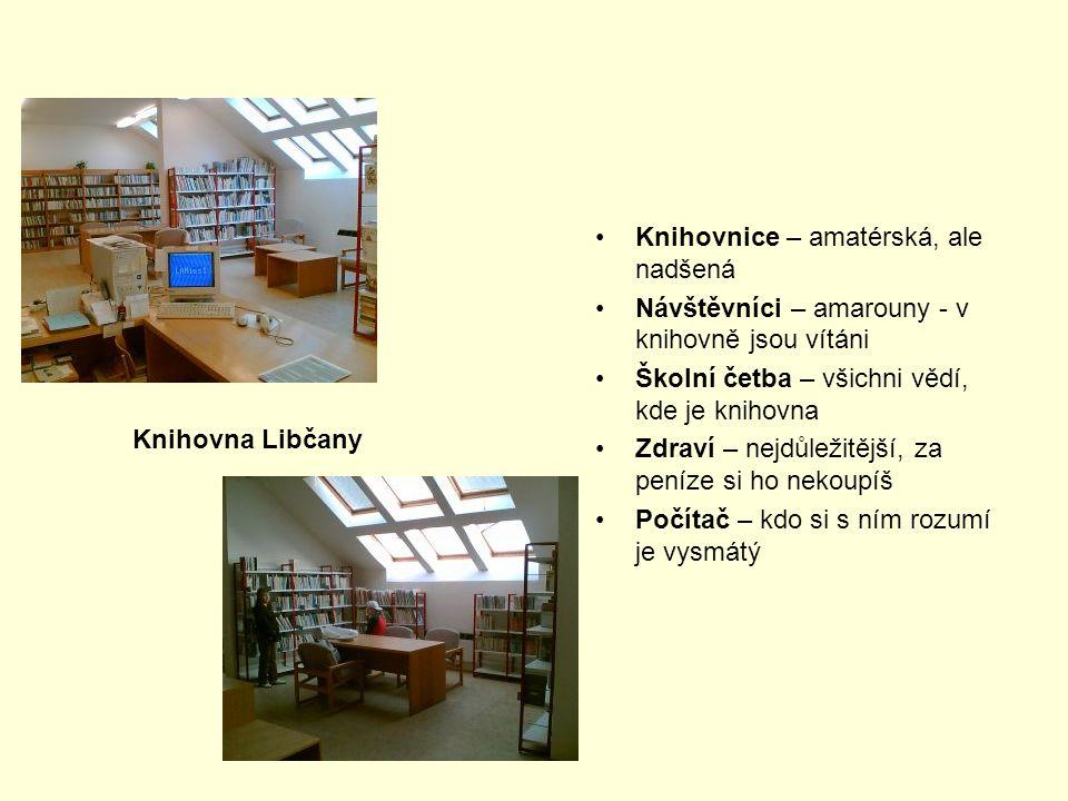 Knihovnice – amatérská, ale nadšená Návštěvníci – amarouny - v knihovně jsou vítáni Školní četba – všichni vědí, kde je knihovna Zdraví – nejdůležitěj
