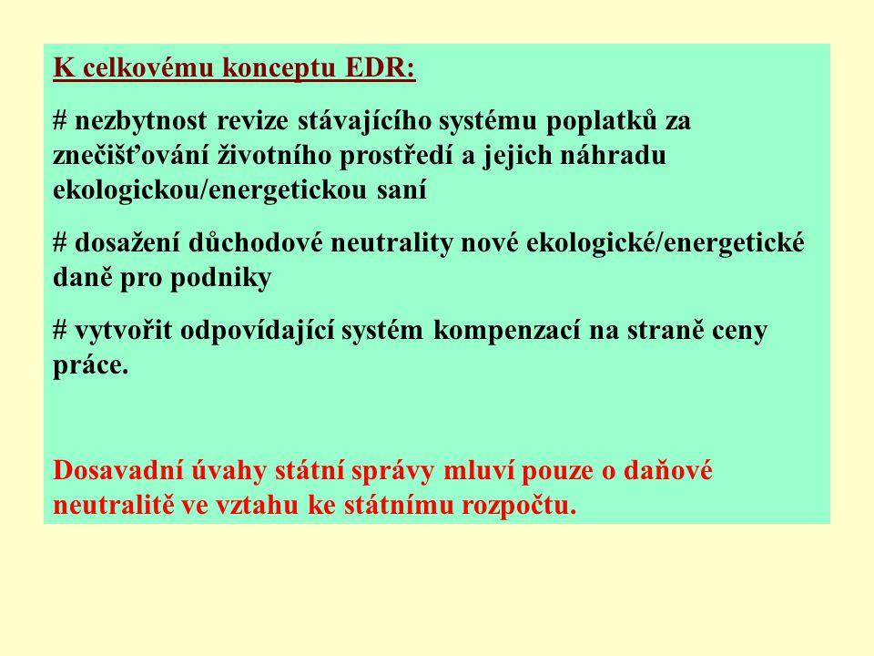 K celkovému konceptu EDR: # nezbytnost revize stávajícího systému poplatků za znečišťování životního prostředí a jejich náhradu ekologickou/energetickou saní # dosažení důchodové neutrality nové ekologické/energetické daně pro podniky # vytvořit odpovídající systém kompenzací na straně ceny práce.