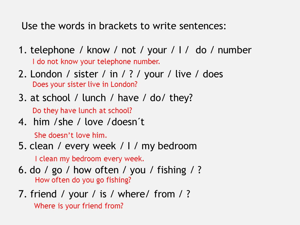 Use the words in brackets to write sentences: 1.telephone / know / not / your / I / do / number 2.
