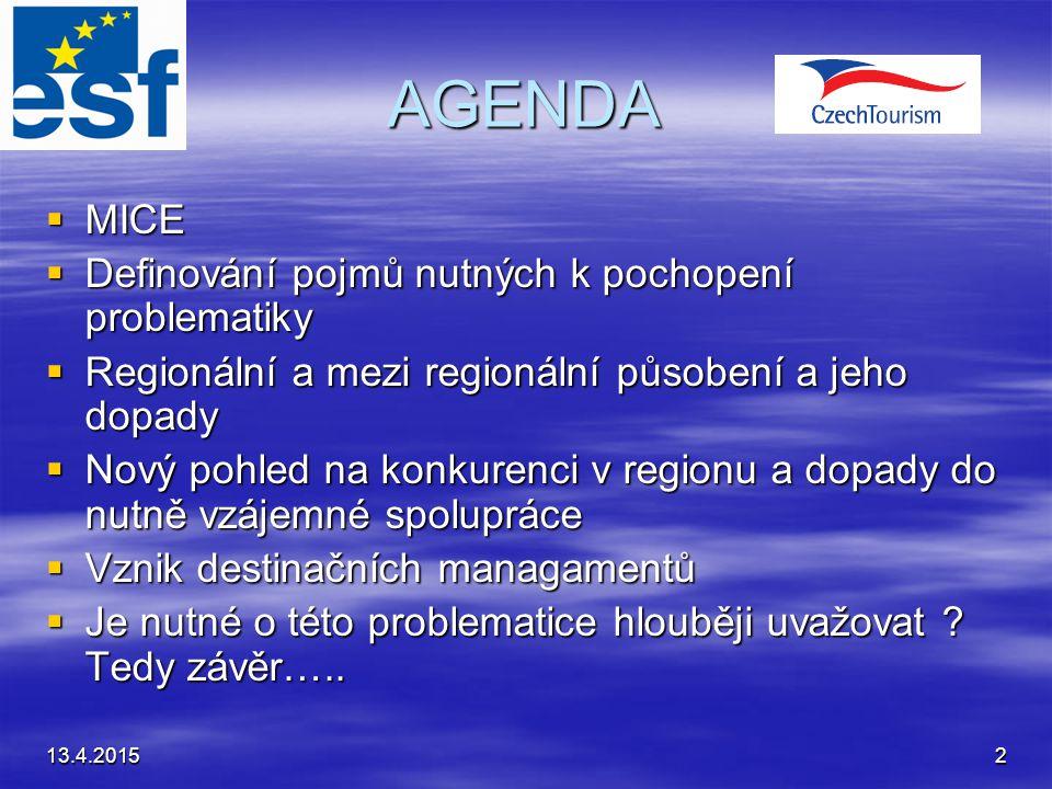 13.4.20152 AGENDA  MICE  Definování pojmů nutných k pochopení problematiky  Regionální a mezi regionální působení a jeho dopady  Nový pohled na ko
