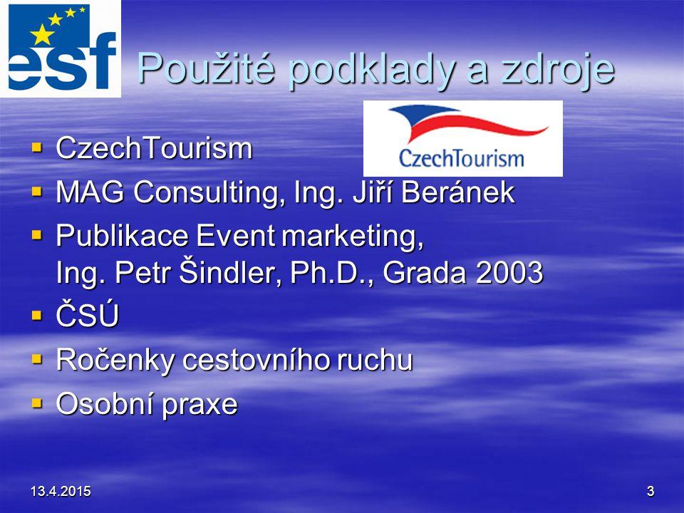 13.4.20153 Použité podklady a zdroje Použité podklady a zdroje  CzechTourism  MAG Consulting, Ing.