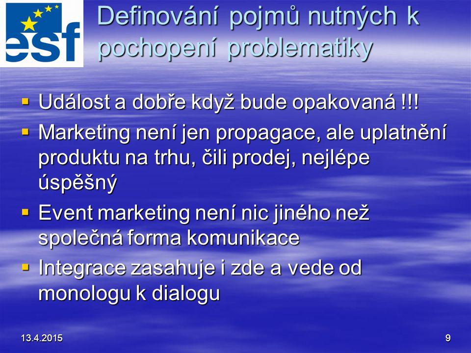 13.4.20159 Definování pojmů nutných k pochopení problematiky  Událost a dobře když bude opakovaná !!!  Marketing není jen propagace, ale uplatnění p