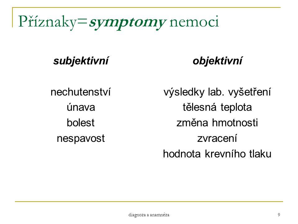 diagnoza a anamnéza 9 Příznaky=symptomy nemoci subjektivní nechutenství únava bolest nespavost objektivní výsledky lab. vyšetření tělesná teplota změn