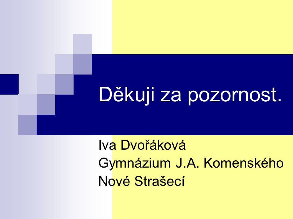 Děkuji za pozornost. Iva Dvořáková Gymnázium J.A. Komenského Nové Strašecí