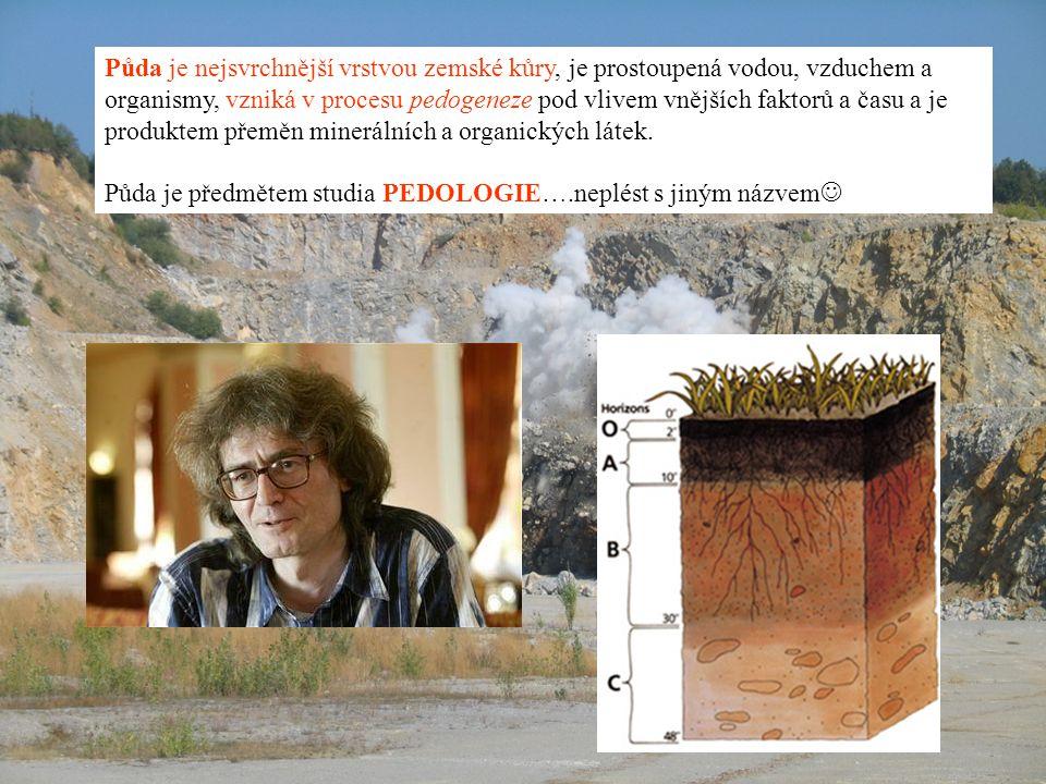 Půda je nejsvrchnější vrstvou zemské kůry, je prostoupená vodou, vzduchem a organismy, vzniká v procesu pedogeneze pod vlivem vnějších faktorů a času a je produktem přeměn minerálních a organických látek.