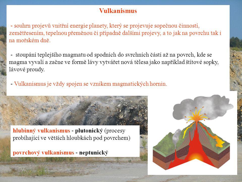 Vulkanismus - souhrn projevů vnitřní energie planety, který se projevuje sopečnou činností, zemětřesením, tepelnou přeměnou či případně dalšími projevy, a to jak na povrchu tak i na mořském dně.