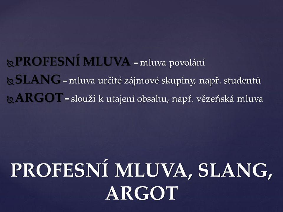  PROFESNÍ MLUVA = mluva povolání  SLANG = mluva určité zájmové skupiny, např. studentů  ARGOT = slouží k utajení obsahu, např. vězeňská mluva PROFE