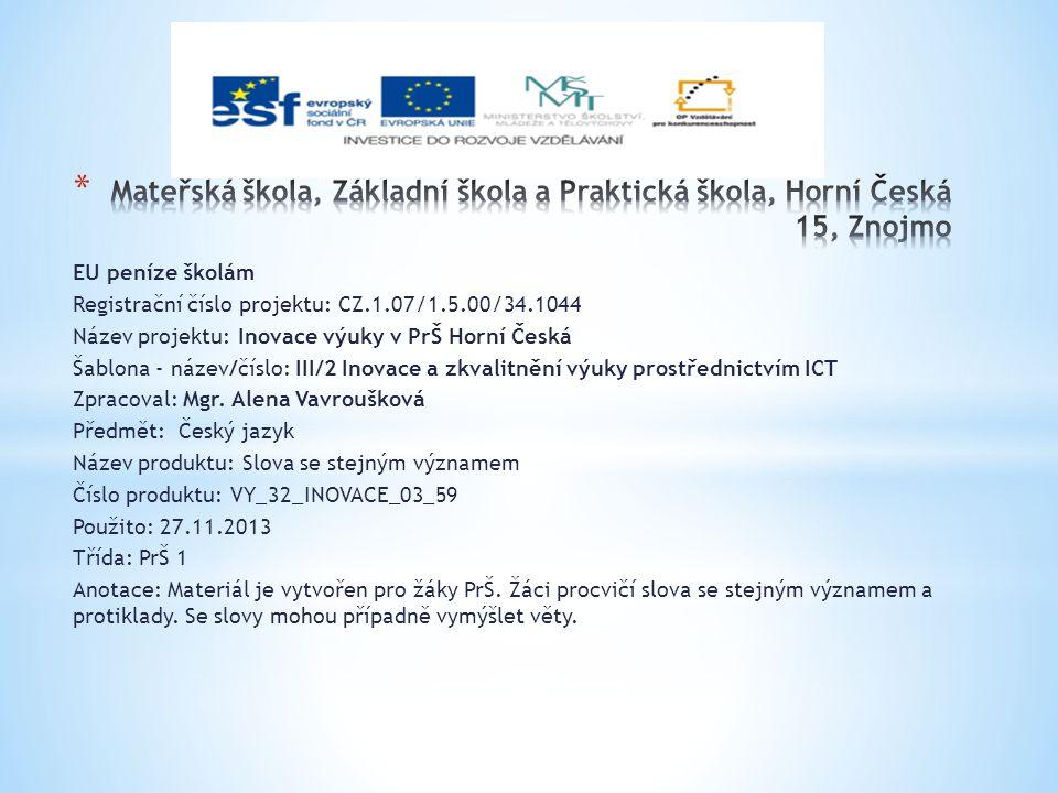 EU peníze školám Registrační číslo projektu: CZ.1.07/1.5.00/34.1044 Název projektu: Inovace výuky v PrŠ Horní Česká Šablona - název/číslo: III/2 Inovace a zkvalitnění výuky prostřednictvím ICT Zpracoval: Mgr.