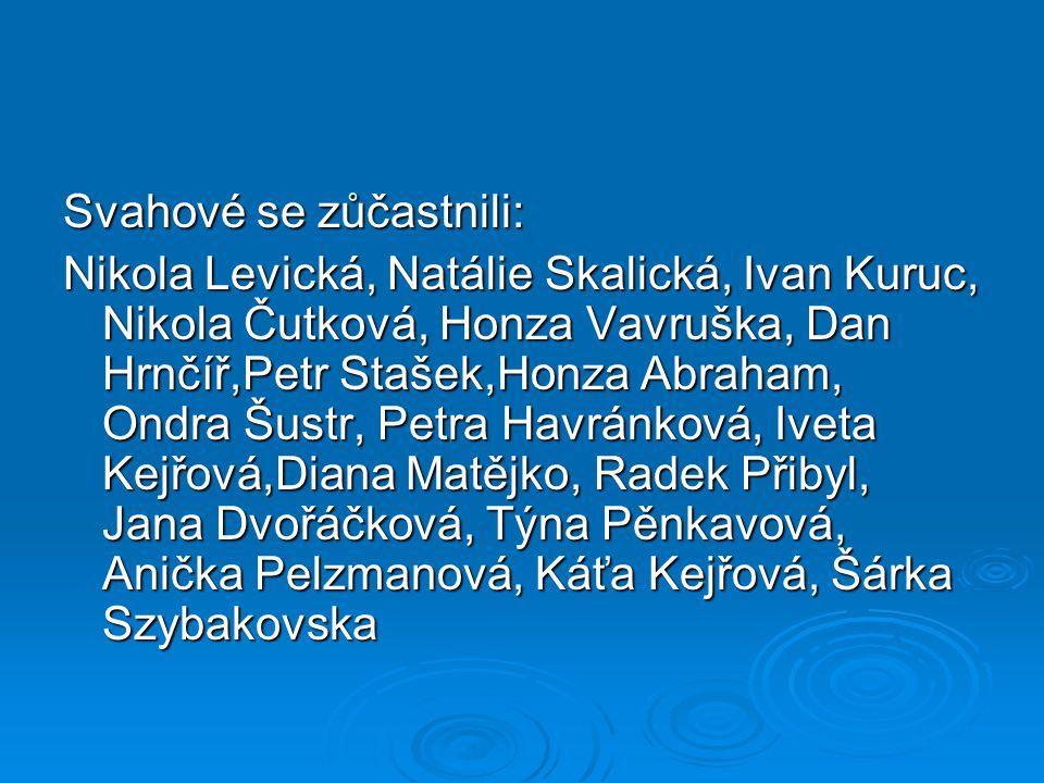 Svahové se zůčastnili: Nikola Levická, Natálie Skalická, Ivan Kuruc, Nikola Čutková, Honza Vavruška, Dan Hrnčíř,Petr Stašek,Honza Abraham, Ondra Šustr, Petra Havránková, Iveta Kejřová,Diana Matějko, Radek Přibyl, Jana Dvořáčková, Týna Pěnkavová, Anička Pelzmanová, Káťa Kejřová, Šárka Szybakovska