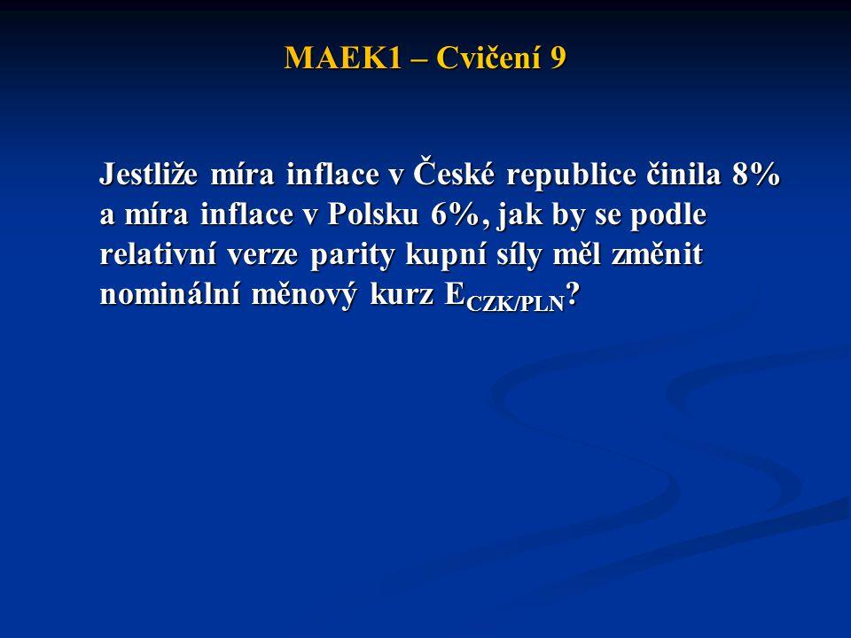 MAEK1 – Cvičení 9 Jestliže míra inflace v České republice činila 8% a míra inflace v Polsku 6%, jak by se podle relativní verze parity kupní síly měl změnit nominální měnový kurz E CZK/PLN ?