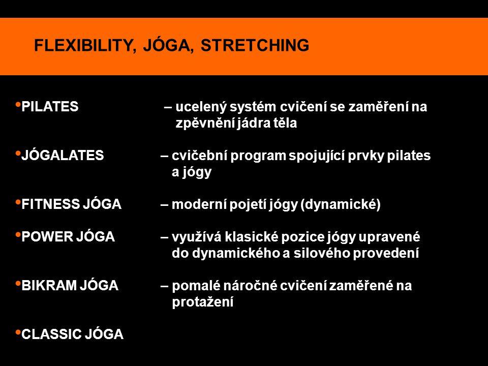 FLEXIBILITY, JÓGA, STRETCHING PILATES – ucelený systém cvičení se zaměření na zpěvnění jádra těla JÓGALATES – cvičební program spojující prvky pilates