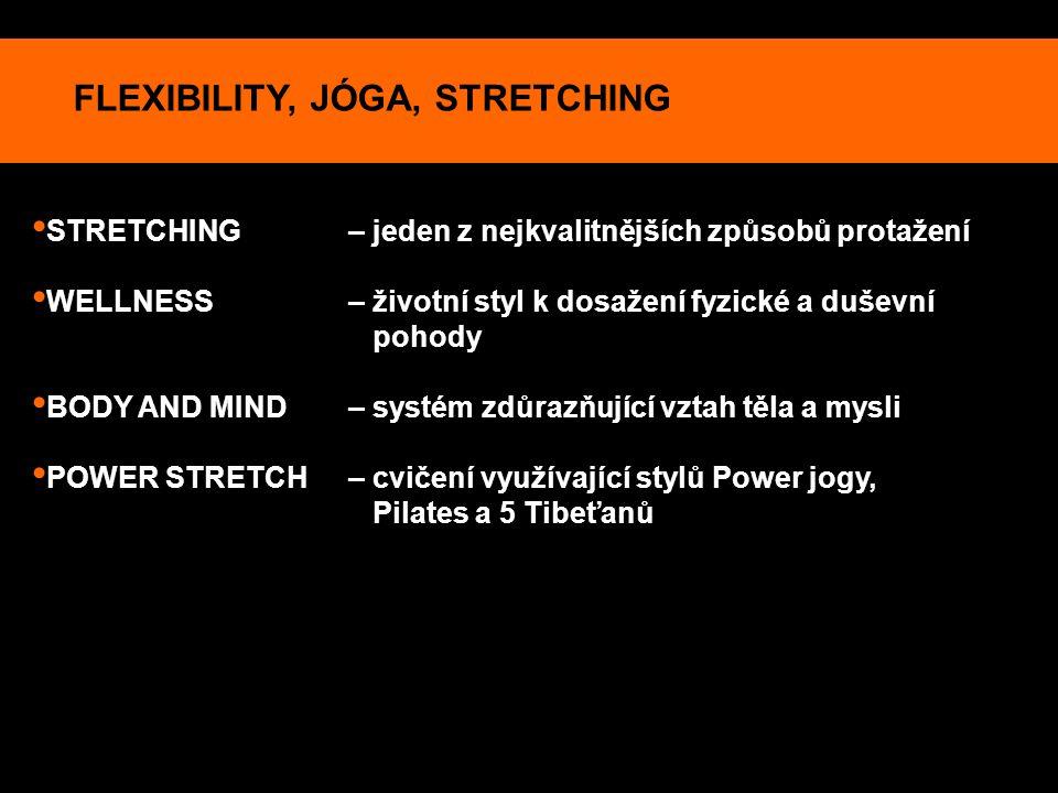FLEXIBILITY, JÓGA, STRETCHING STRETCHING – jeden z nejkvalitnějších způsobů protažení WELLNESS – životní styl k dosažení fyzické a duševní pohody BODY