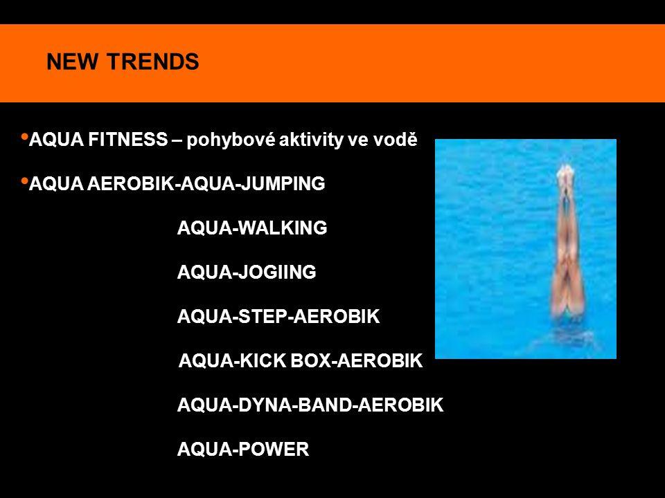 NEW TRENDS AQUA FITNESS – pohybové aktivity ve vodě AQUA AEROBIK-AQUA-JUMPING AQUA-WALKING AQUA-JOGIING AQUA-STEP-AEROBIK AQUA-KICK BOX-AEROBIK AQUA-D