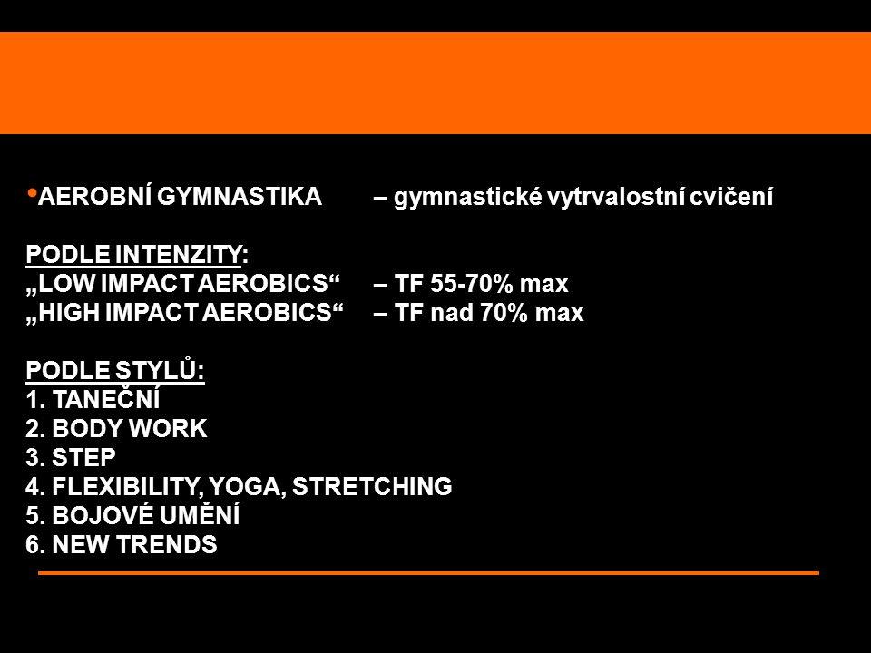 """AEROBNÍ GYMNASTIKA – gymnastické vytrvalostní cvičení PODLE INTENZITY: """"LOW IMPACT AEROBICS"""" – TF 55-70% max """"HIGH IMPACT AEROBICS""""– TF nad 70% max PO"""