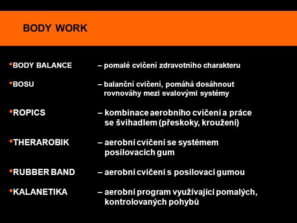 BODY WORK BODY BALANCE – pomalé cvičení zdravotního charakteru BOSU – balanční cvičení, pomáhá dosáhnout rovnováhy mezi svalovými systémy ROPICS – kom