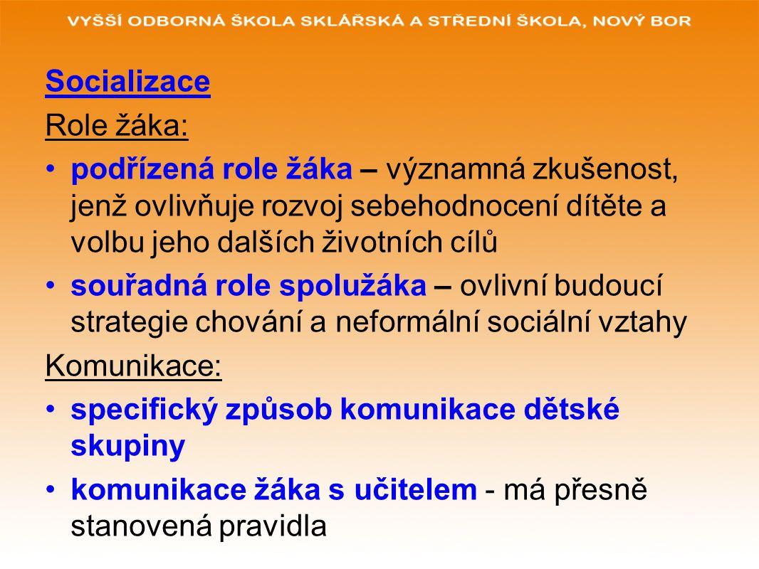 Socializace Role žáka: podřízená role žáka – významná zkušenost, jenž ovlivňuje rozvoj sebehodnocení dítěte a volbu jeho dalších životních cílů souřadná role spolužáka – ovlivní budoucí strategie chování a neformální sociální vztahy Komunikace: specifický způsob komunikace dětské skupiny komunikace žáka s učitelem - má přesně stanovená pravidla
