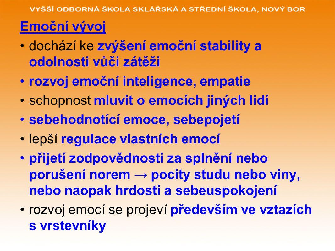 Emoční vývoj dochází ke zvýšení emoční stability a odolnosti vůči zátěži rozvoj emoční inteligence, empatie schopnost mluvit o emocích jiných lidí sebehodnotící emoce, sebepojetí lepší regulace vlastních emocí přijetí zodpovědnosti za splnění nebo porušení norem → pocity studu nebo viny, nebo naopak hrdosti a sebeuspokojení rozvoj emocí se projeví především ve vztazích s vrstevníky