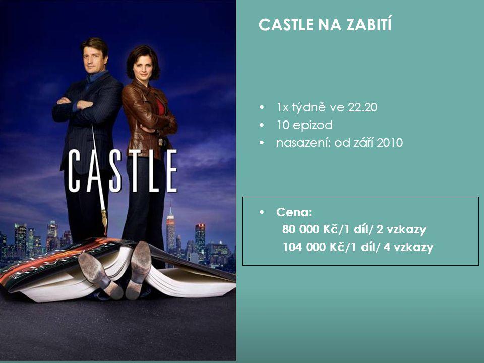 1x týdně ve 22.20 10 epizod nasazení: od září 2010 Cena: 80 000 Kč/1 díl/ 2 vzkazy 104 000 Kč/1 díl/ 4 vzkazy CASTLE NA ZABITÍ