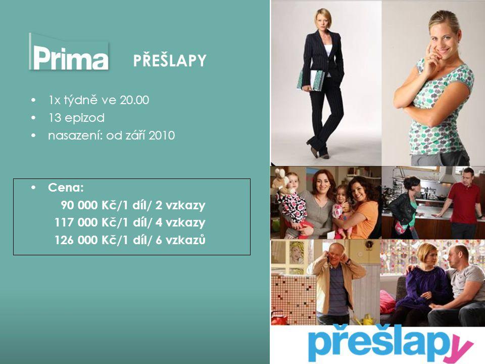 1x týdně ve 20.00 13 epizod nasazení: od září 2010 Cena: 90 000 Kč/1 díl/ 2 vzkazy 117 000 Kč/1 díl/ 4 vzkazy 126 000 Kč/1 díl/ 6 vzkazů PŘEŠLAPY