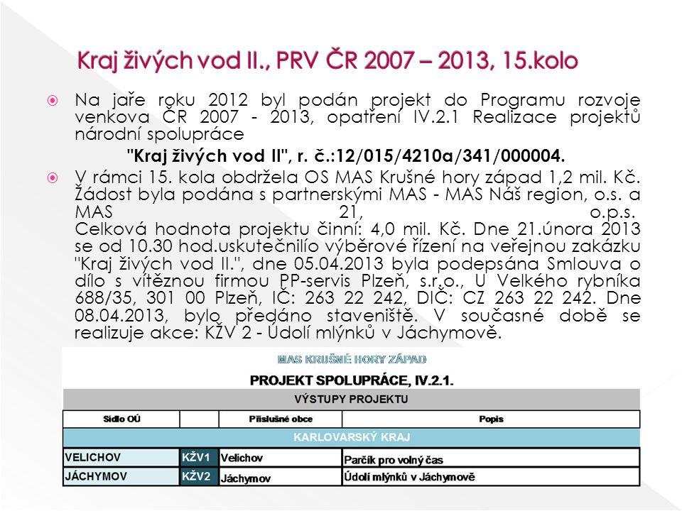  Na jaře roku 2012 byl podán projekt do Programu rozvoje venkova ČR 2007 - 2013, opatření IV.2.1 Realizace projektů národní spolupráce Kraj živých vod II , r.
