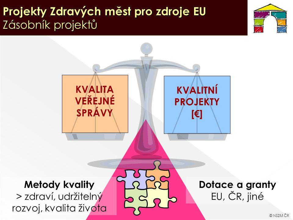 18 Projekty Zdravých měst pro zdroje EU Zásobník projektů KVALITNÍ PROJEKTY [€] KVALITA VEŘEJNÉ SPRÁVY Metody kvality > zdraví, udržitelný rozvoj, kvalita života Dotace a granty EU, ČR, jiné © NSZM ČR