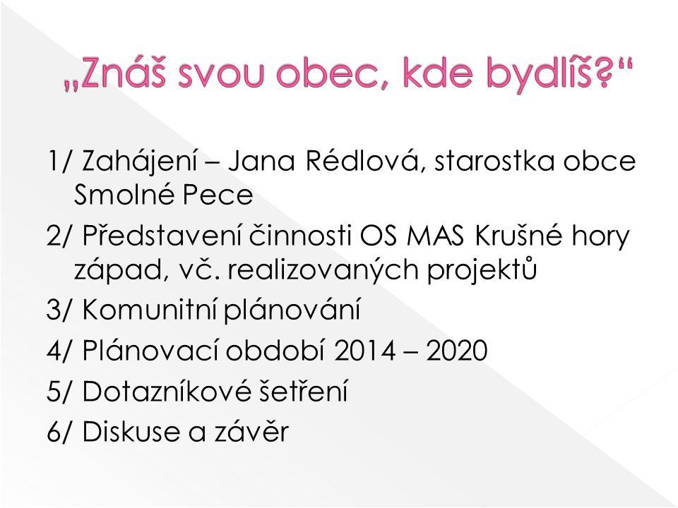 1/ Zahájení – Jana Rédlová, starostka obce Smolné Pece 2/ Představení činnosti OS MAS Krušné hory západ, vč.