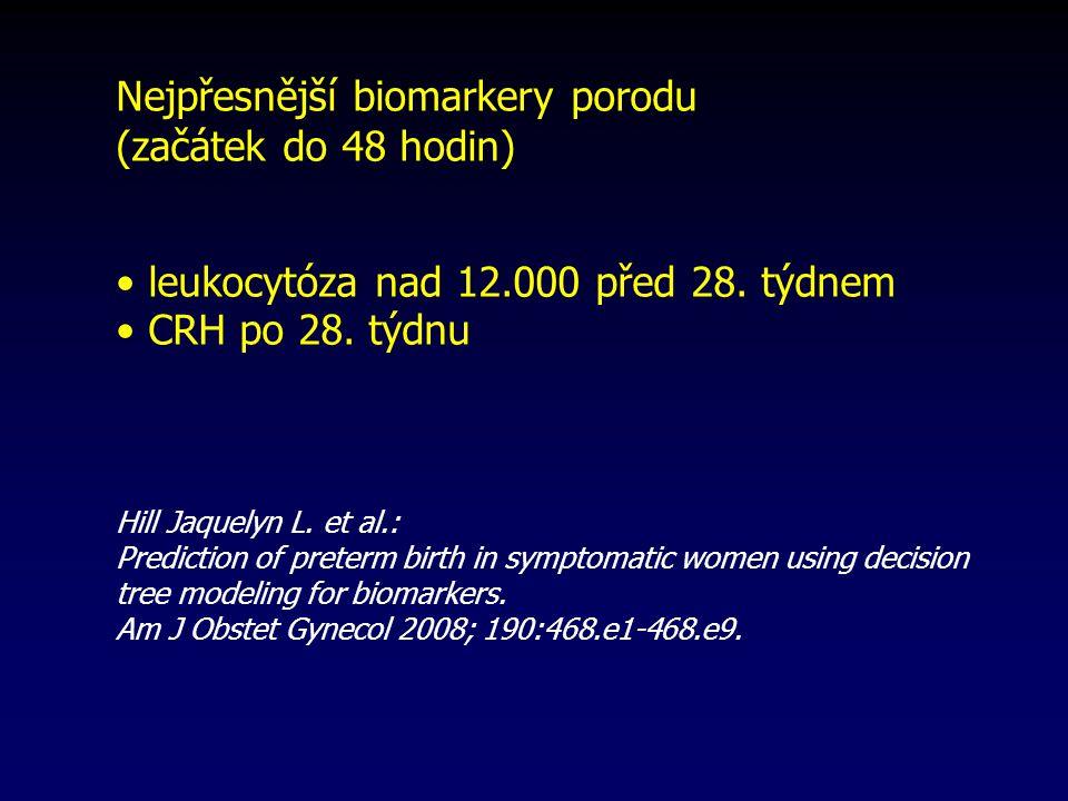 Nejpřesnější biomarkery porodu (začátek do 48 hodin) leukocytóza nad 12.000 před 28.