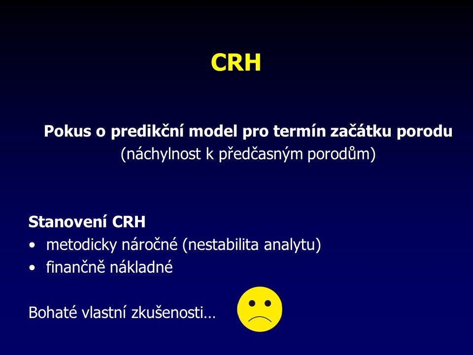CRH Pokus o predikční model pro termín začátku porodu (náchylnost k předčasným porodům) Stanovení CRH metodicky náročné (nestabilita analytu) finančně nákladné Bohaté vlastní zkušenosti…