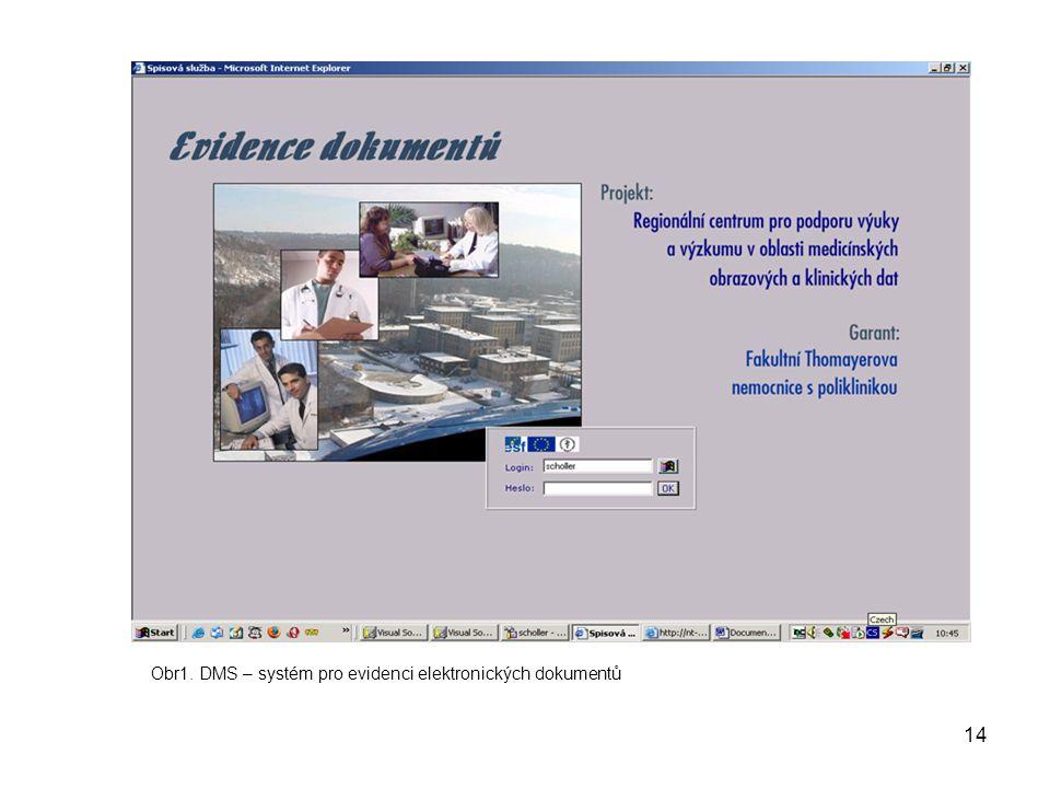 14 Obr1. DMS – systém pro evidenci elektronických dokumentů