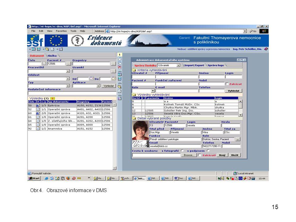 15 Obr.4. Obrazové informace v DMS