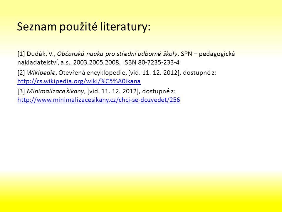 Seznam použité literatury: [1] Dudák, V., Občanská nauka pro střední odborné školy, SPN – pedagogické nakladatelství, a.s., 2003,2005,2008.