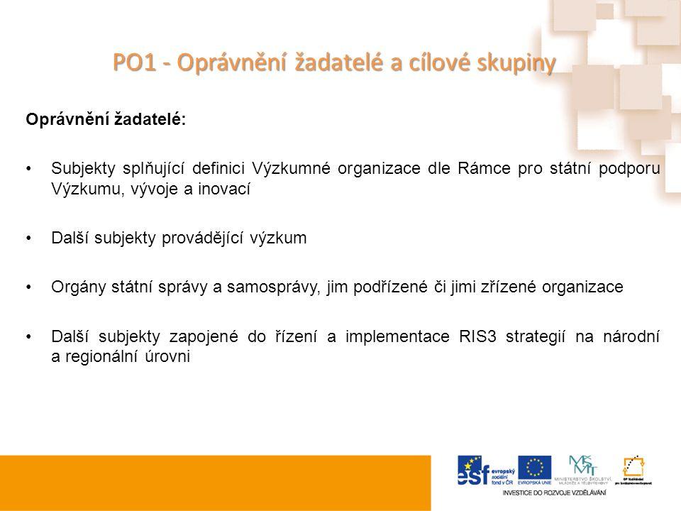 PO1 - Oprávnění žadatelé a cílové skupiny Oprávnění žadatelé: Subjekty splňující definici Výzkumné organizace dle Rámce pro státní podporu Výzkumu, vý