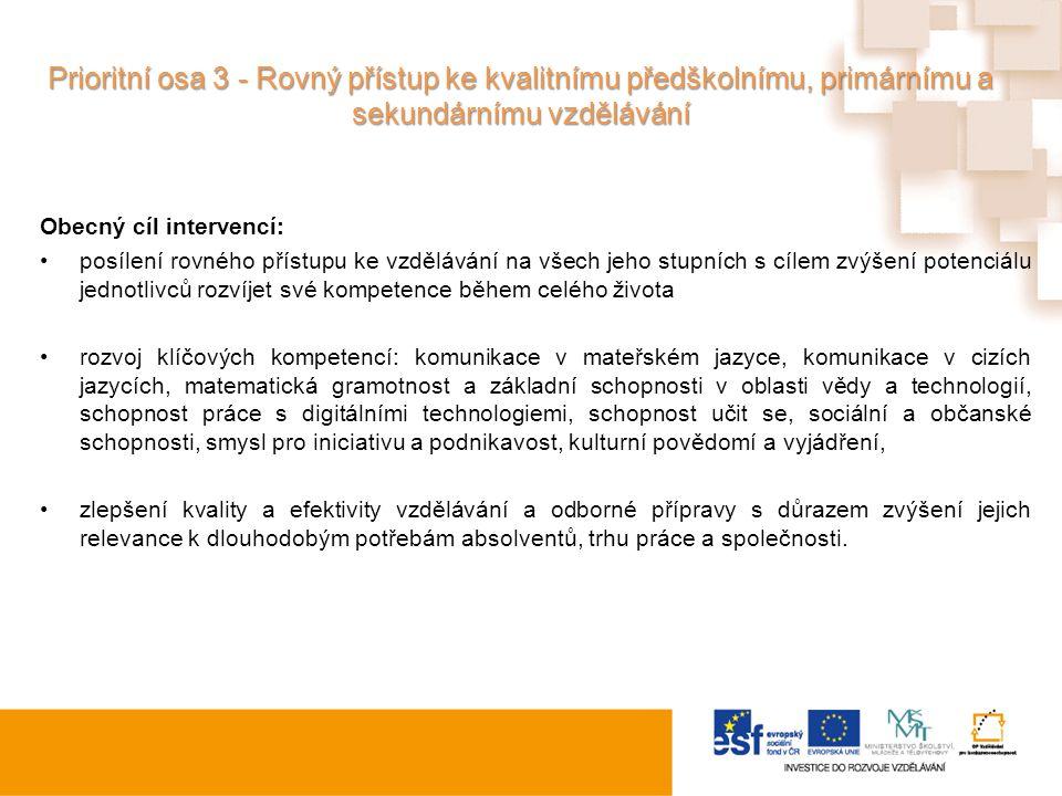 Prioritní osa 3 - Rovný přístup ke kvalitnímu předškolnímu, primárnímu a sekundárnímu vzdělávání Obecný cíl intervencí: posílení rovného přístupu ke v