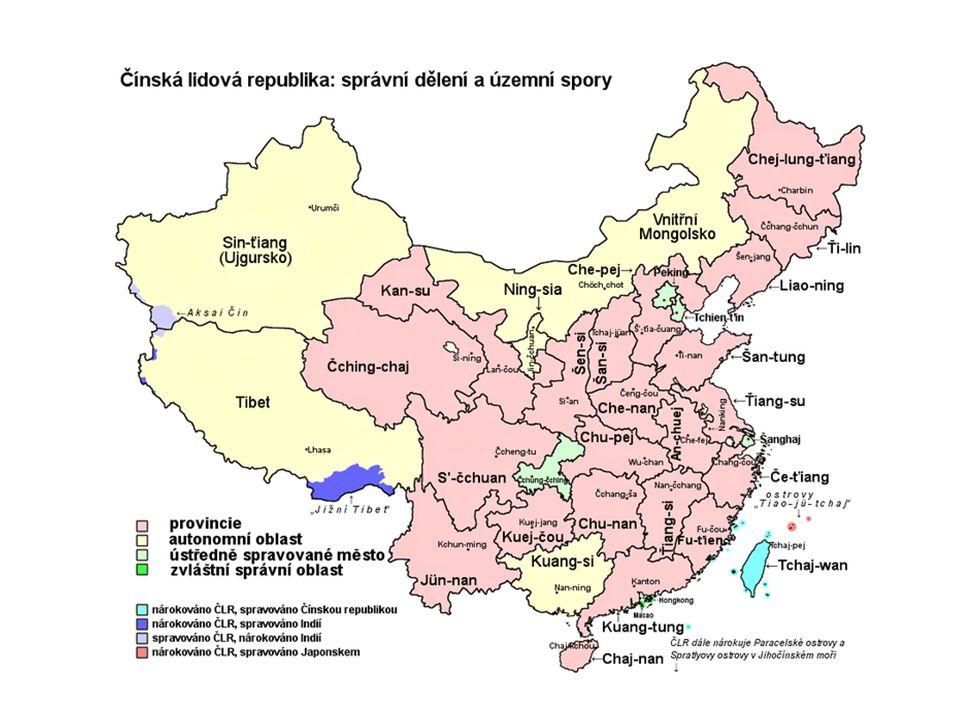 Jako Čína se označují tyto území: ČLR- pevninská Čína Čínská republika – Tchaj-wan Tibet, Ujgursko –autonomie usilují o odtržení a nezávislost na ČLR V ČLR vládne komunistický režim, největší škody způsobil v 50.
