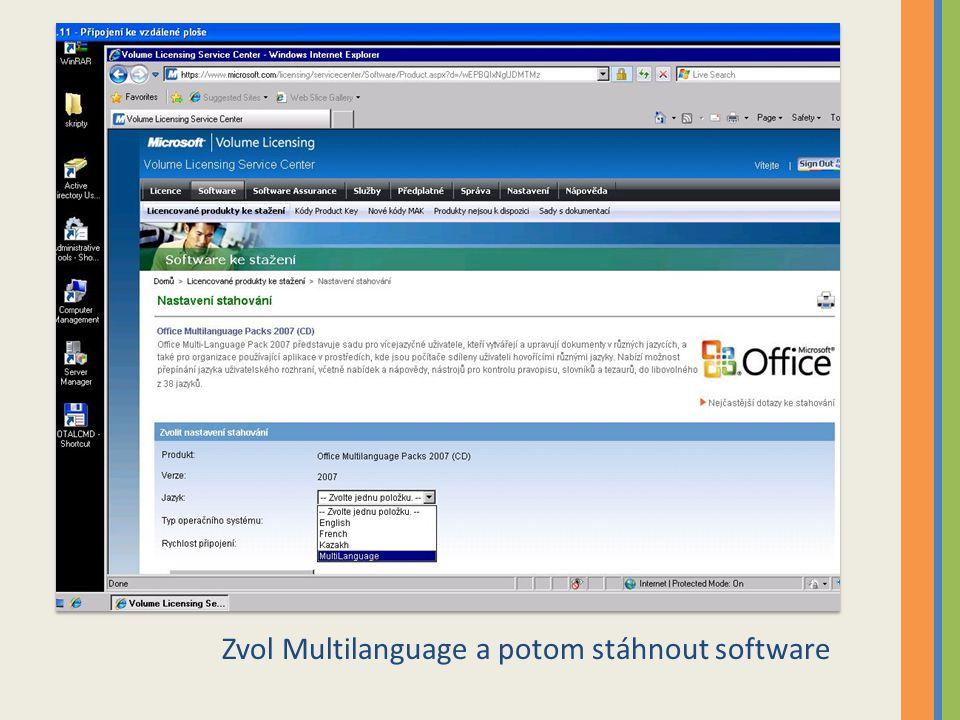 Zvol Multilanguage a potom stáhnout software