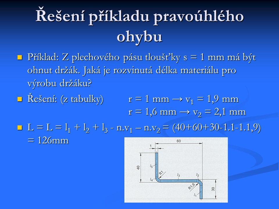 Řešení příkladu – bez korekčních hodnot Příklad: Z plechového pásu tloušťky 1 mm má být držák.