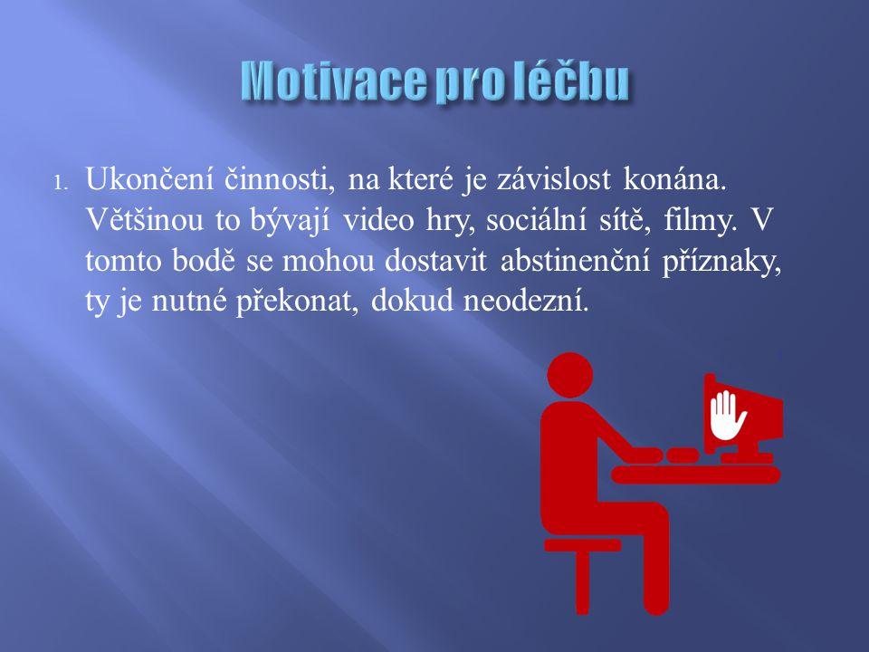 1. Ukončení činnosti, na které je závislost konána. Většinou to bývají video hry, sociální sítě, filmy. V tomto bodě se mohou dostavit abstinenční pří