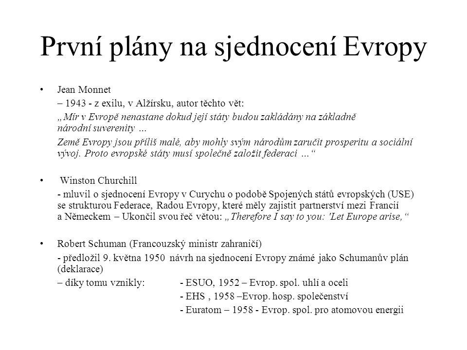 Evropské Společenství uhlí a oceli (ESUO) - *1952 Navrhl jej Schuman (na základě Monnetova díla) Pařížská smlouva – mezi státy: Německo Francie, Itálie, Nizozemí, Belgie a Lucembursko Cílem byl společný trh s Ocelí a uhlím – a tím vytvoření přátelského prostředí mezi Francií a Německem Díky smlouvě by ekonomika v čl.