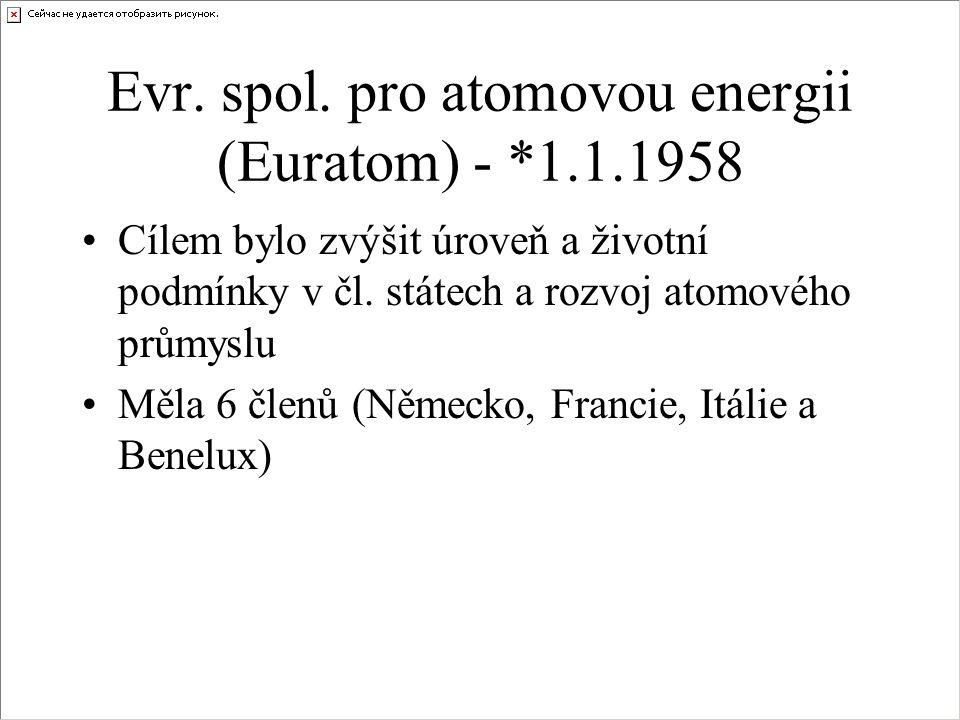 Evr. spol. pro atomovou energii (Euratom) - *1.1.1958 Cílem bylo zvýšit úroveň a životní podmínky v čl. státech a rozvoj atomového průmyslu Měla 6 čle