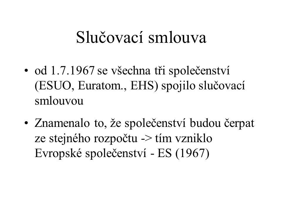Slučovací smlouva od 1.7.1967 se všechna tři společenství (ESUO, Euratom., EHS) spojilo slučovací smlouvou Znamenalo to, že společenství budou čerpat