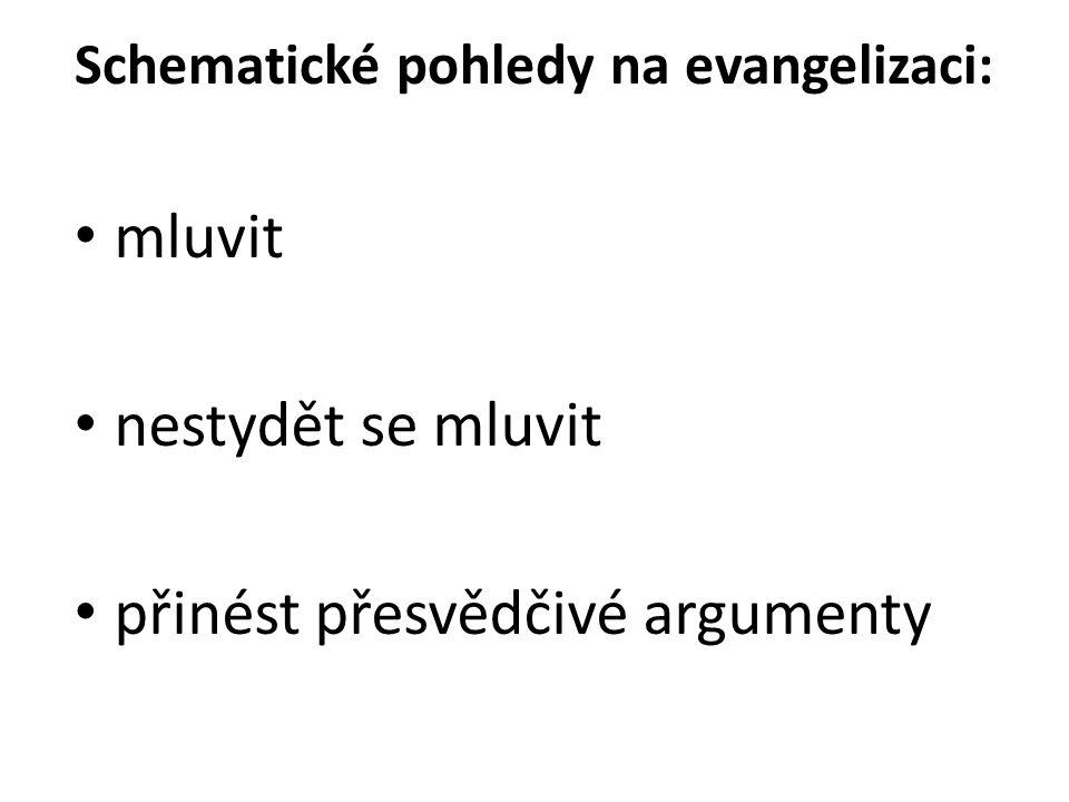 Schematické pohledy na evangelizaci: mluvit nestydět se mluvit přinést přesvědčivé argumenty