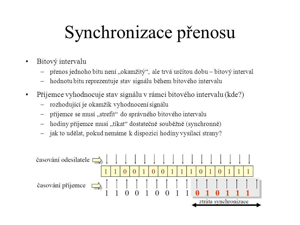 """Synchronizace přenosu Bitový intervalu –přenos jednoho bitu není """"okamžitý"""", ale trvá určitou dobu – bitový interval –hodnotu bitu reprezentuje stav s"""