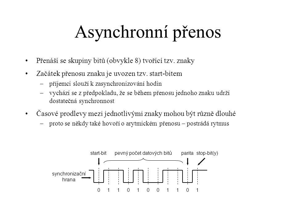 """Synchronní přenos Přenáší se celé souvislé bloky dat (libovolně dlouhé) Synchronnost je udržována průběžně –po celou dobu přenosu souvislého bloku –někdy se udržuje i v době mezi bloky Synchronní přenos je obecně rychlejší než asynchronní Možnosti synchronizace hodin –samostatný synchronizační signál: přenáší """"tikání odesilatele, obvodově nejjednodušší řešení, používá se ale pouze lokálně, ne mezi přístroji –redundantní kódování: zahrnutí časového signálu do kódování jednotlivých bitů, např."""