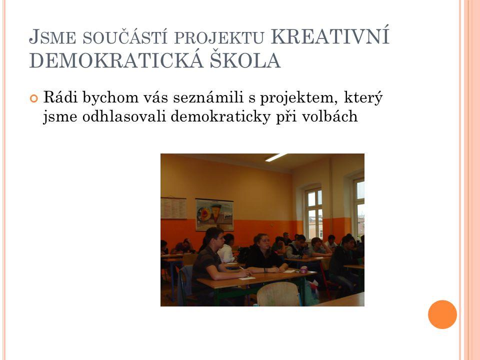 J SME SOUČÁSTÍ PROJEKTU KREATIVNÍ DEMOKRATICKÁ ŠKOLA Rádi bychom vás seznámili s projektem, který jsme odhlasovali demokraticky při volbách