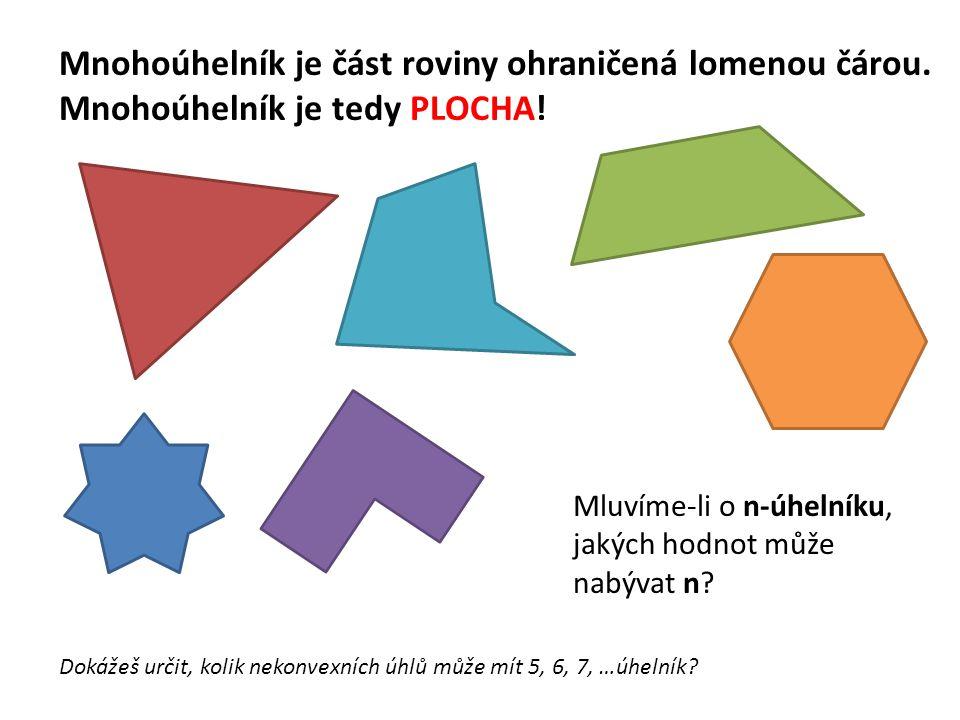 Mnohoúhelník je část roviny ohraničená lomenou čárou. Mnohoúhelník je tedy PLOCHA! Mluvíme-li o n-úhelníku, jakých hodnot může nabývat n? Dokážeš urči